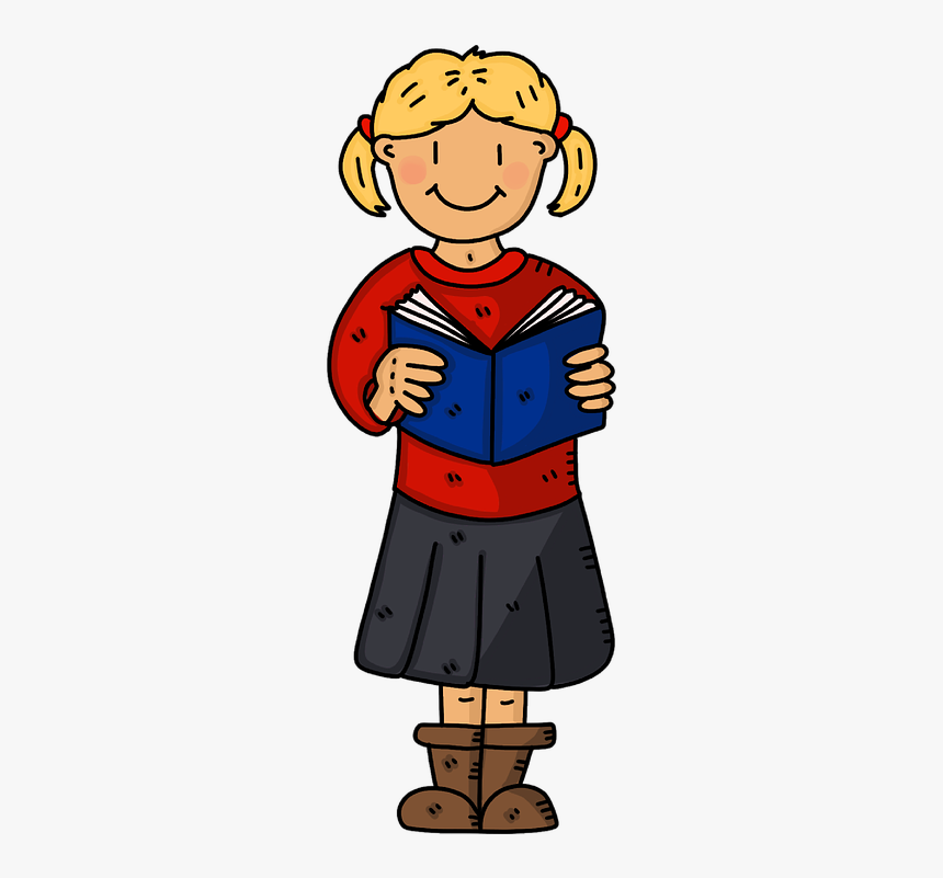 School Girl, Book, Reading, Education, Student, School - Student Reading Clipart Standing, HD Png Download, Free Download