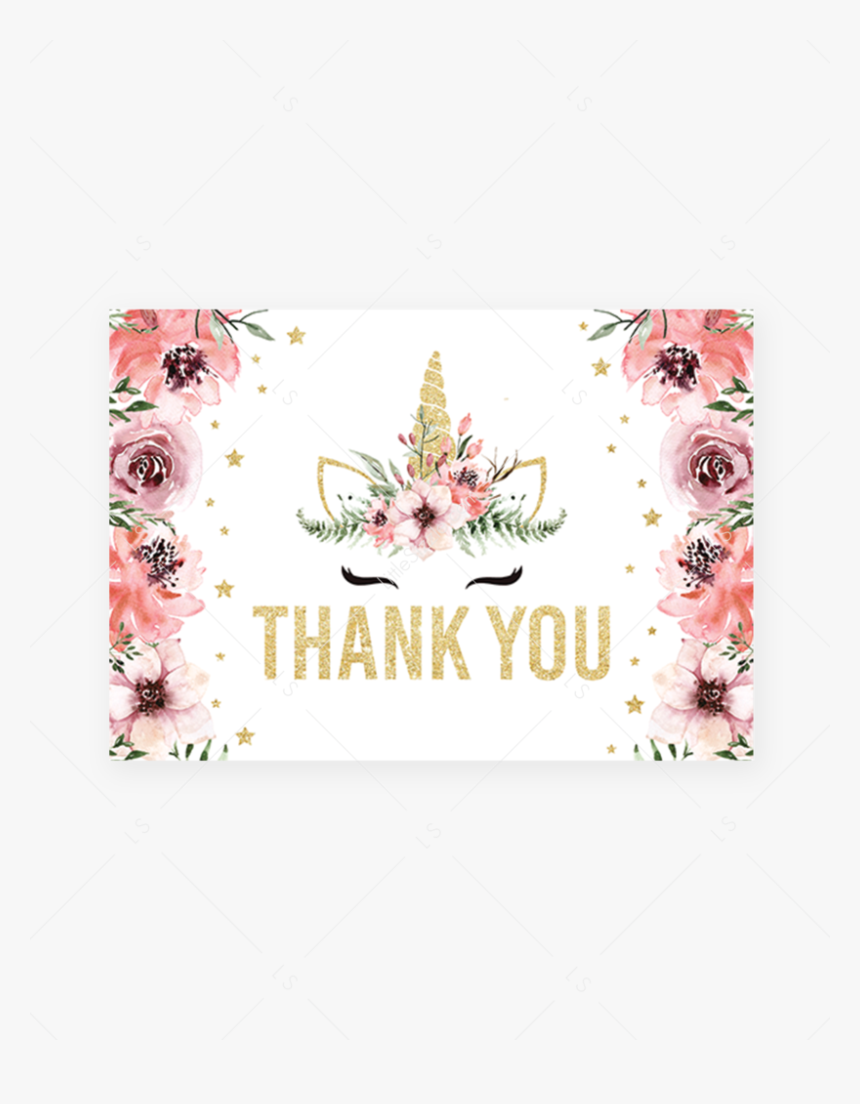 Transparent Pink Thank You Png - Unicorn Invitation Baby Shower Bundle For Girl Pink, Png Download, Free Download