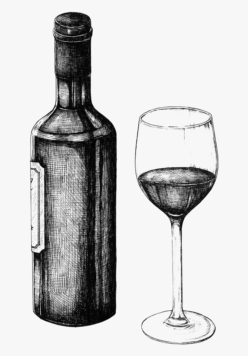 Wine Glass Bottle Black And White, HD Png Download, Free Download