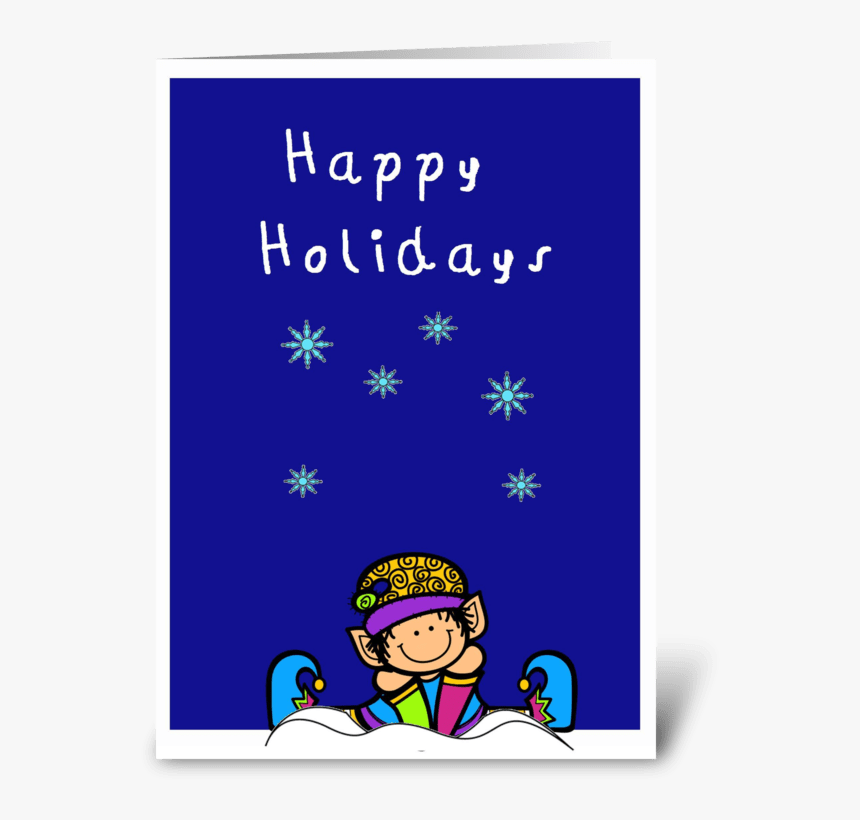 Cute Elf In The Snow Happy Holidays Card Greeting Card - Happy Birthday Penguin Card, HD Png Download, Free Download