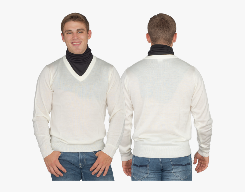 Crazy Cousin White V-neck Sweater With Black Dickey - Gentleman, HD Png Download, Free Download