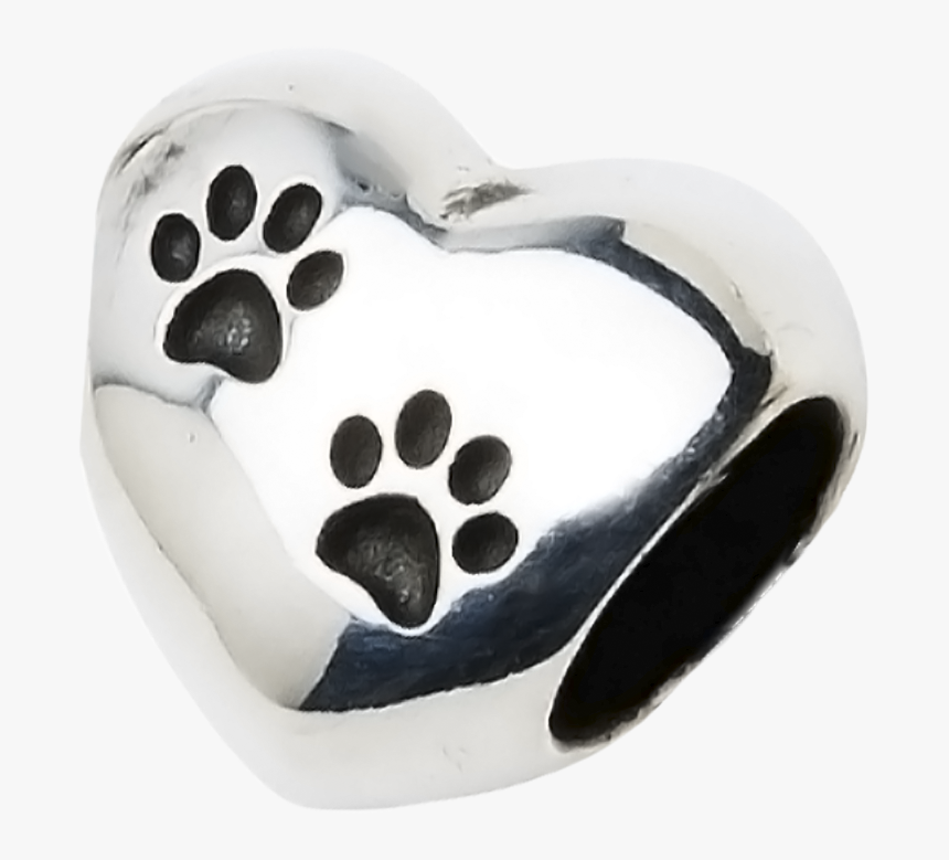 A Beautiful Sterling Silver Heart Charm With Two Paw - Purple Paw Print Tattoo, HD Png Download, Free Download