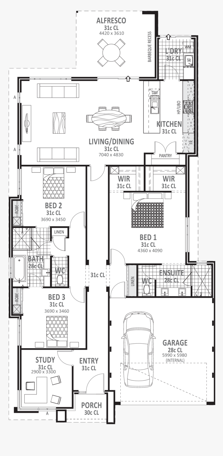 Floor Plans Png - 3 Bed House Plan, Transparent Png - kindpng