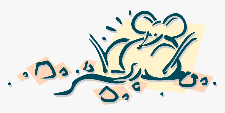 Vector Illustration Of Rodent Mouse Gorged On Cheese - Calligraphy, HD Png Download, Free Download