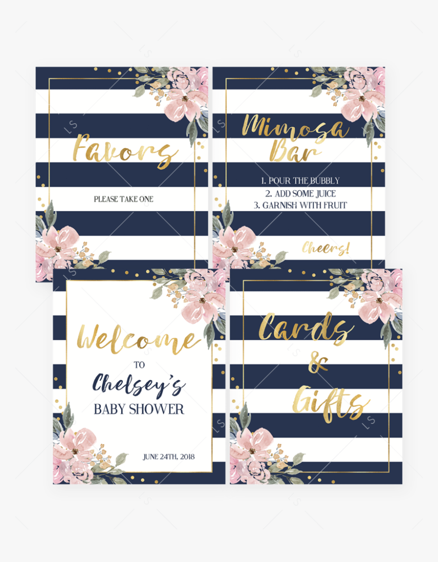 """Pink And Navy Shower Decor Pack Printable By Littlesizzle""""  - Gift, HD Png Download, Free Download"""