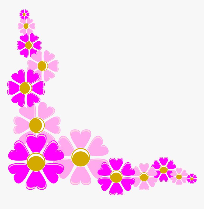 Spring Flower Corner Border - Flowers Corner Design Png, Transparent Png, Free Download