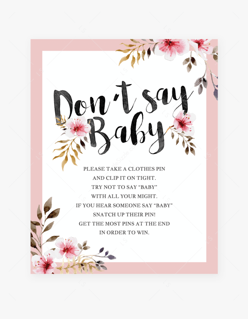 Dont Say Baby Shower Game For Girls Instructions Table - Baby Shower Printable Predictions, HD Png Download, Free Download