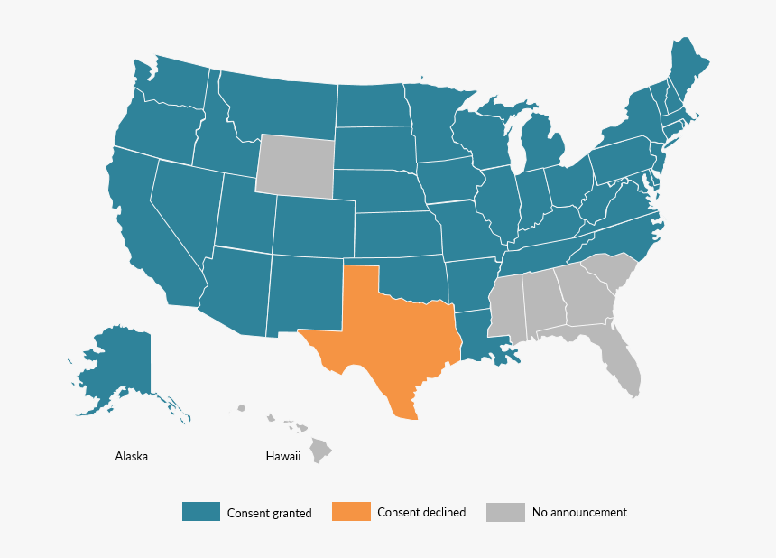 Map Of State Consent Or Lack Of Consent For Refugee - Us Map Vector Png, Transparent Png, Free Download