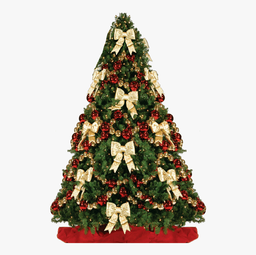 Red Holliday Entracing Christmas Tree Decorations Bows - Bow Themed Christmas Tree, HD Png Download, Free Download