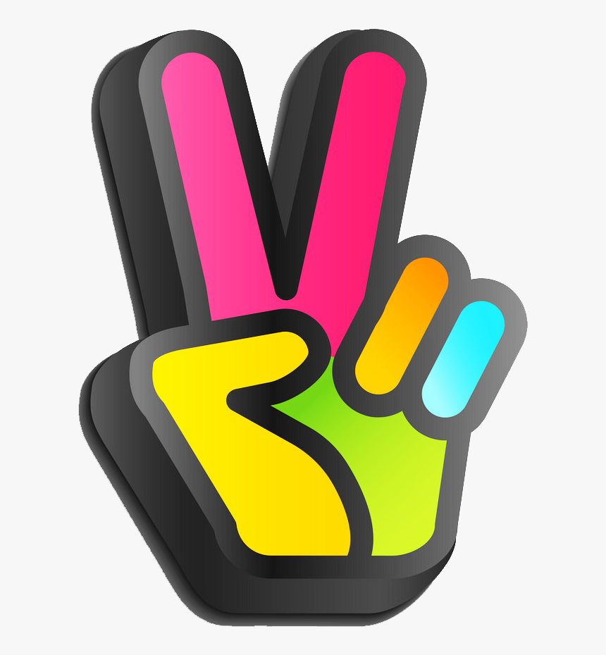 ⚫✌⚫ #peace #hand #3d #threedimensional #sunday #colorful #ftestickers - Simbolo De Amor Y Paz Con Los Dedos, HD Png Download, Free Download