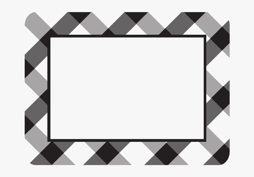 Buffalo Check Plaid Black Self-stick Picture Frames - Black And White Buffalo Plaid Border, HD Png Download, Free Download