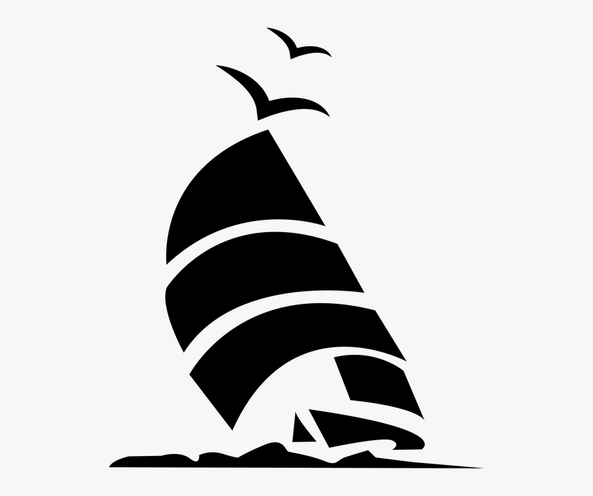 Boat, Sailboat, Ocean, Sailing, Port, Mast - Ship Abstract Art Black And White, HD Png Download, Free Download