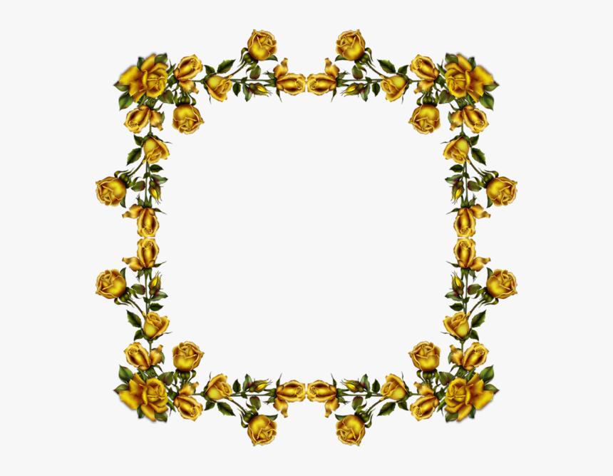 Transparent Golden Flower Png - Funeral Frame Gold Flowers Png, Png Download, Free Download