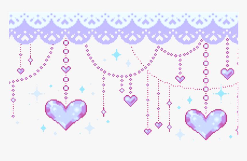 Border Hanging Heart Purple Stars Line Pixel Heart Gif Hd Png Download Kindpng