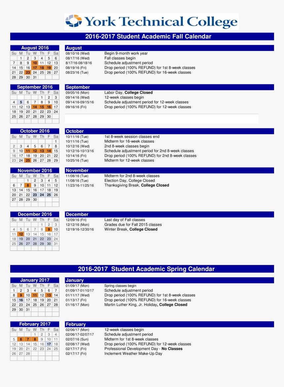 2016 2017 Academic Calendar Template from www.kindpng.com