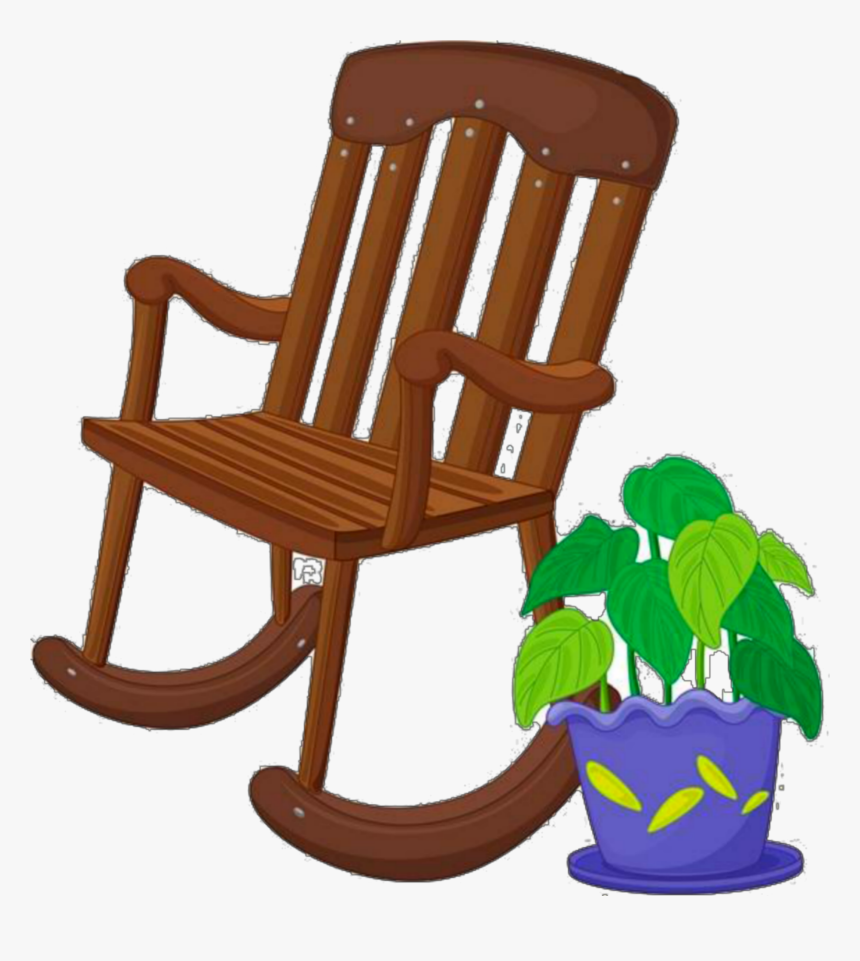 Ftestickers Clipart Chair Rockingchair Plant - Cartoon Rocking Chair Clip Art, HD Png Download, Free Download
