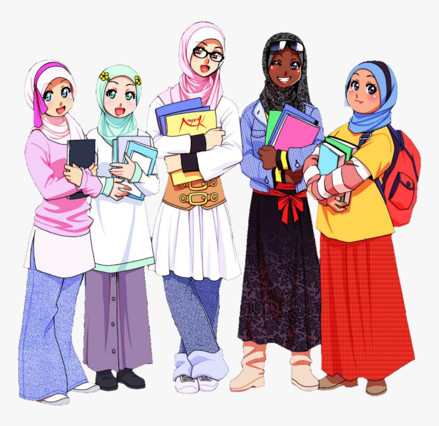 Muslim Muslimahs Friends Islam Kartun Muslimah Sekolah Hd Png Download Kindpng