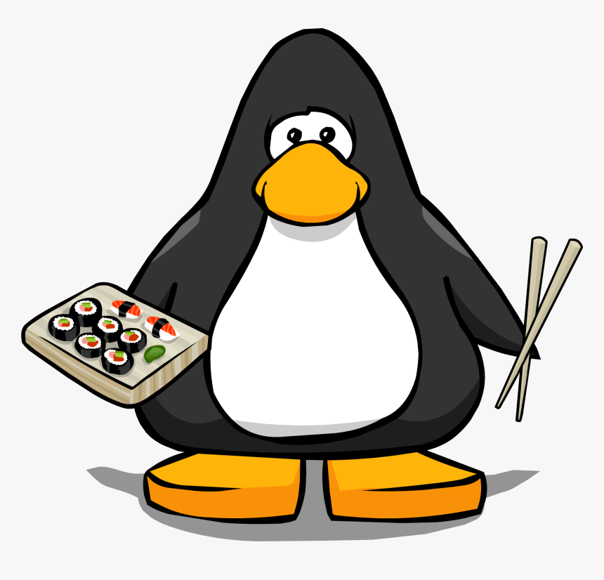 Sushi Cartoon Png Vector Black And White Stock - Penguin With Santa Hat, Transparent Png, Free Download