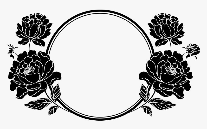 Frame Design Flower Clipart Black 15 Black And White - Clipart Flowers Frame Black And White, HD Png Download, Free Download