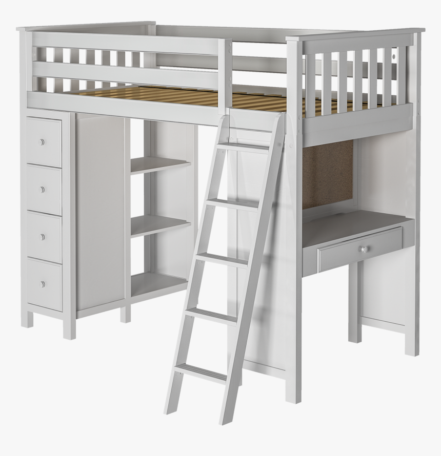Jackpot 5-w - White Twin Loft Bed, HD Png Download, Free Download