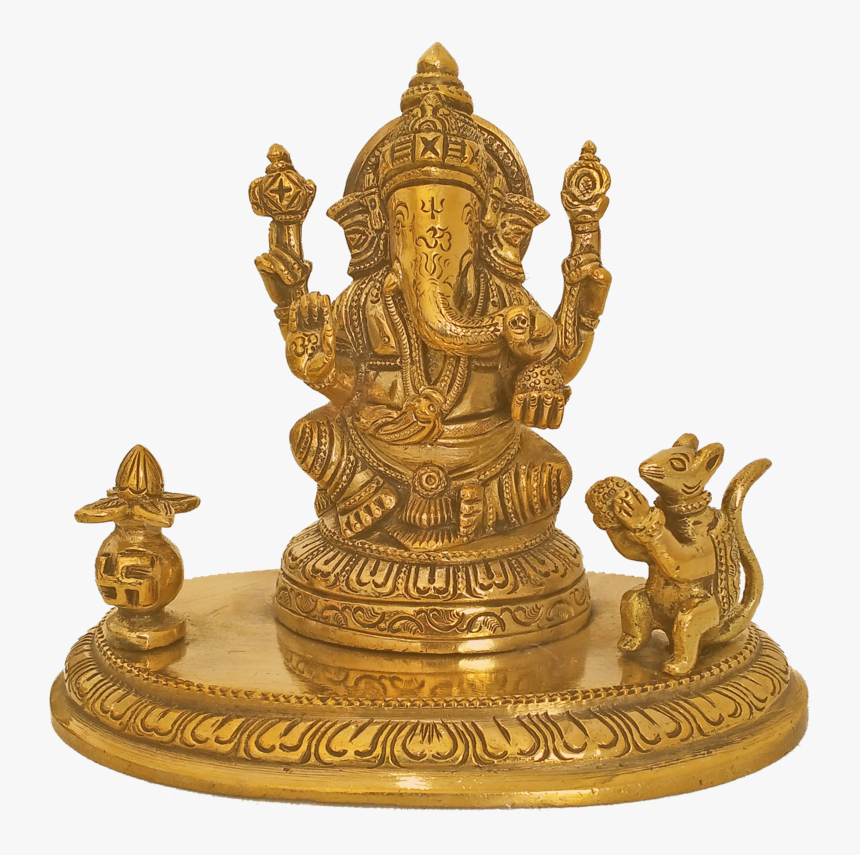 Holy God Shri Ganesha Sitting With Mouse And Kalasam - Brass, HD Png Download, Free Download