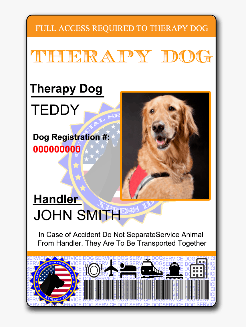Emotional Support Dog Card Hd Png Download Kindpng