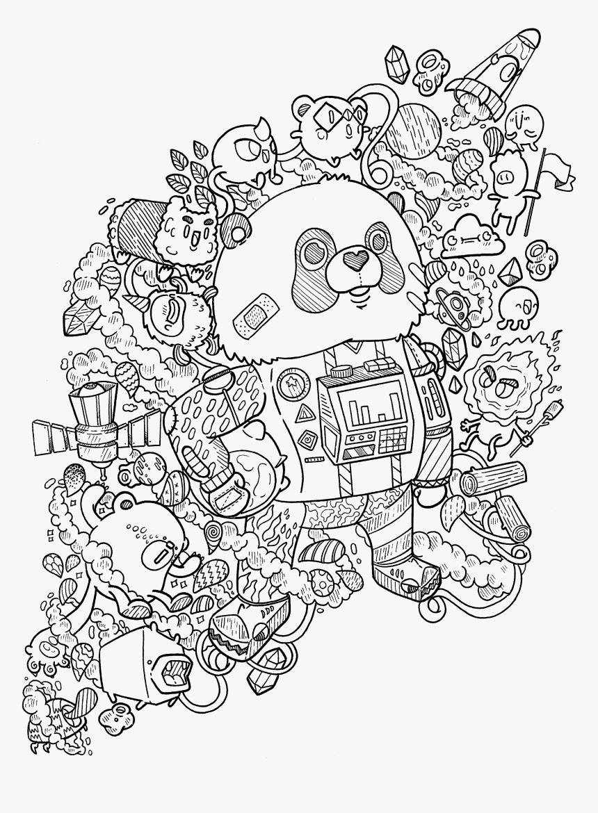Transparent Space Clipart Black And White - Ausmalbilder Doodle, HD Png Download, Free Download
