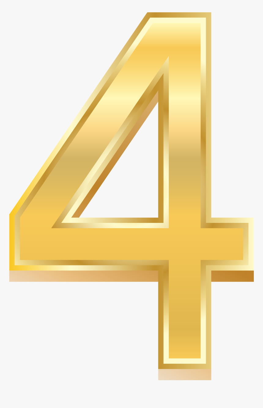 Gold Style Number Png - Number 4 Gold Png, Transparent Png, Free Download