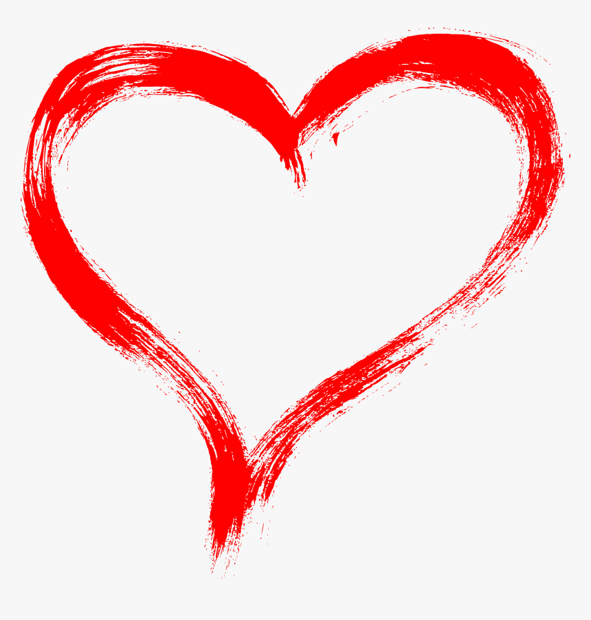 Red Heart Brush Stroke, HD Png Download - kindpng
