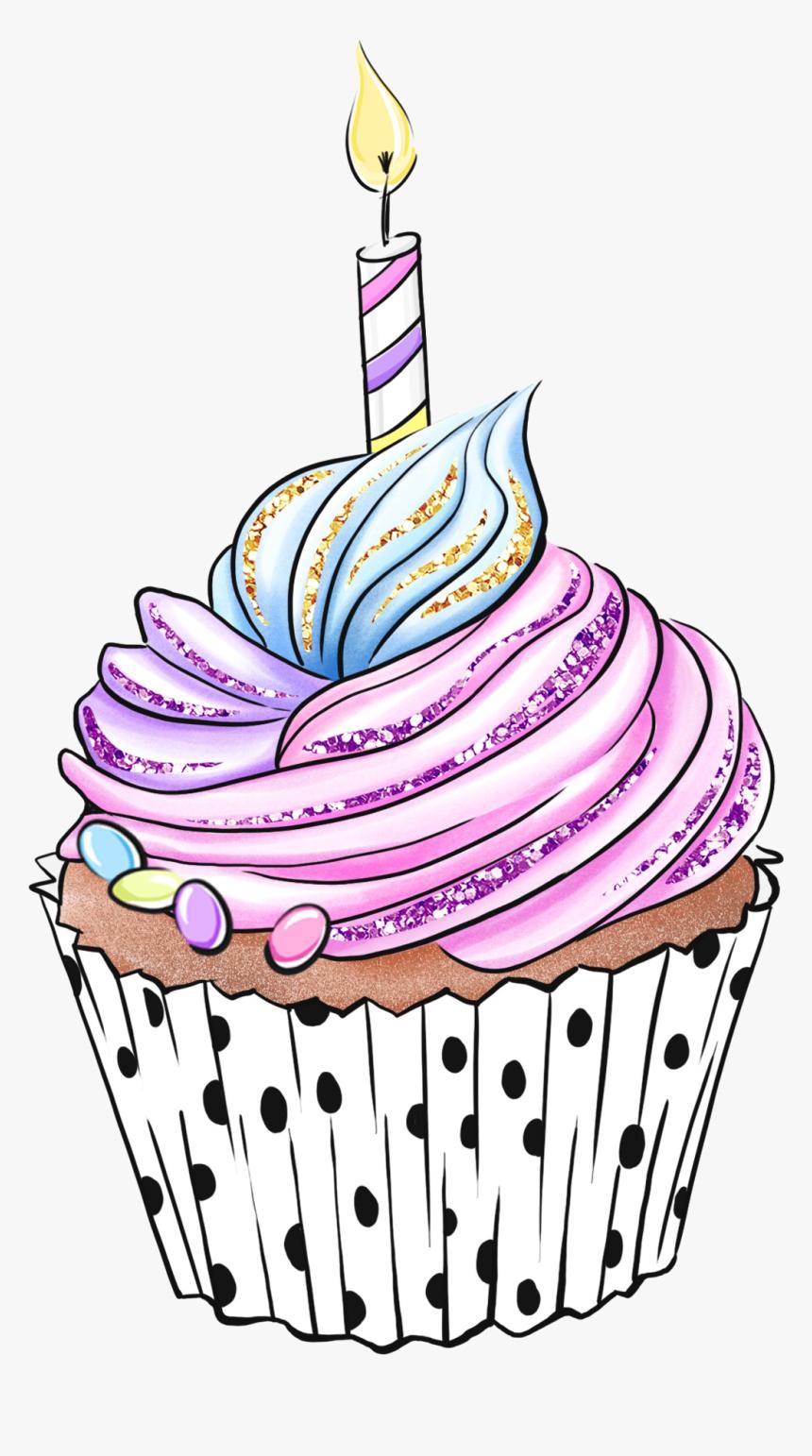 #cupcake #cake #candle #birthdaycake #birthday #celebration - Cupcake Illustrations, HD Png Download, Free Download