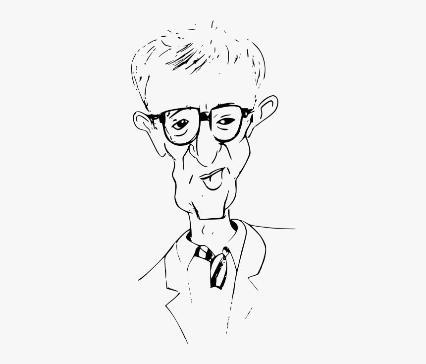 Woody Allen Caricature Outline - Caricature Outline Vector, HD Png Download, Free Download