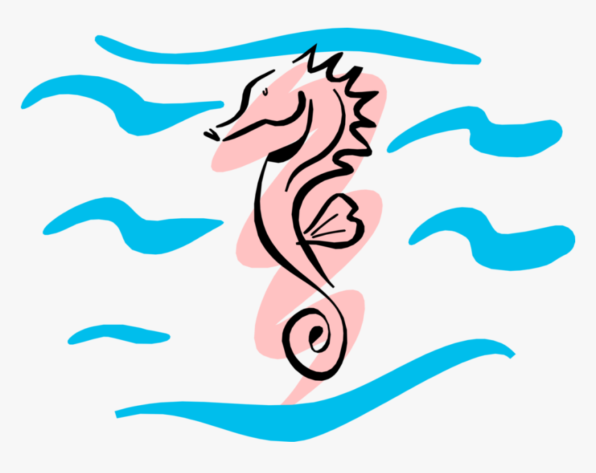 Vector Illustration Of Pink Hippocampus Genus Seahorse - Sea Horse Clip Art, HD Png Download, Free Download