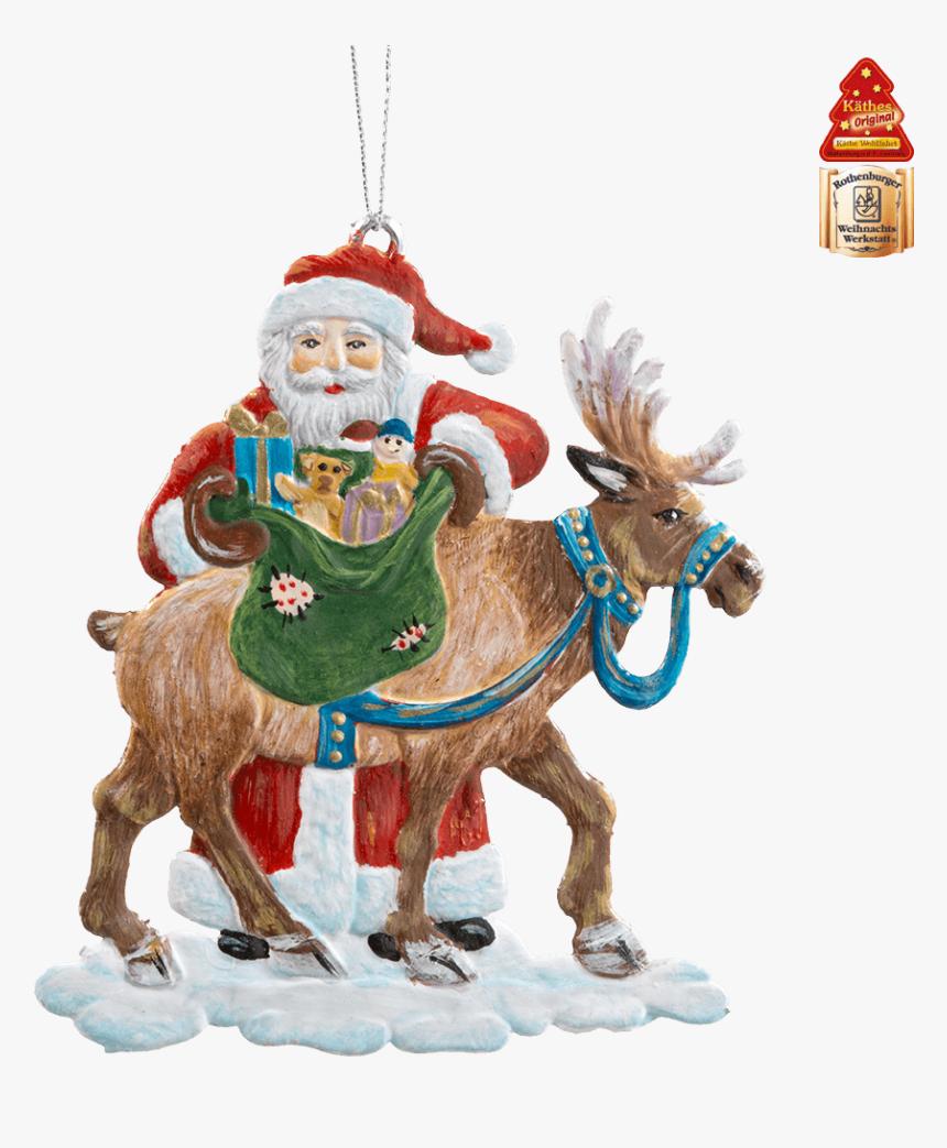 Santa With Reindeer - Käthe Wohlfahrt Raeuchermaennchen, HD Png Download, Free Download