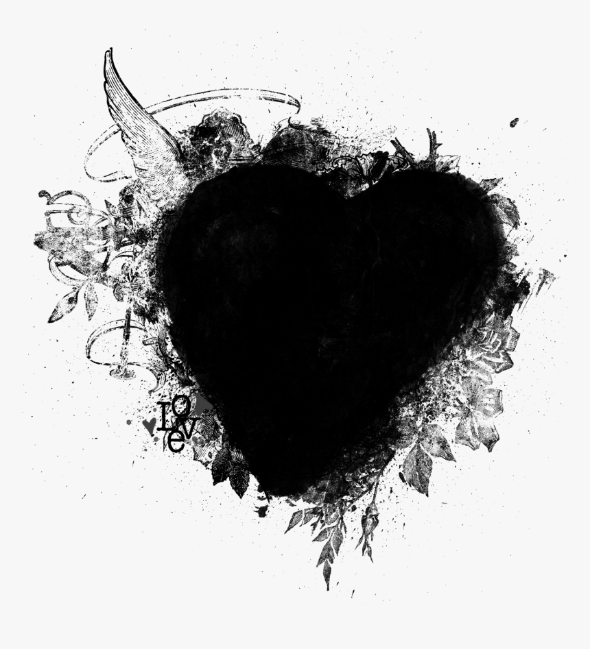 Black Heart Papers, Labels, Frames Or Free Wedding - Кисти Для Фотошопа, HD Png Download, Free Download