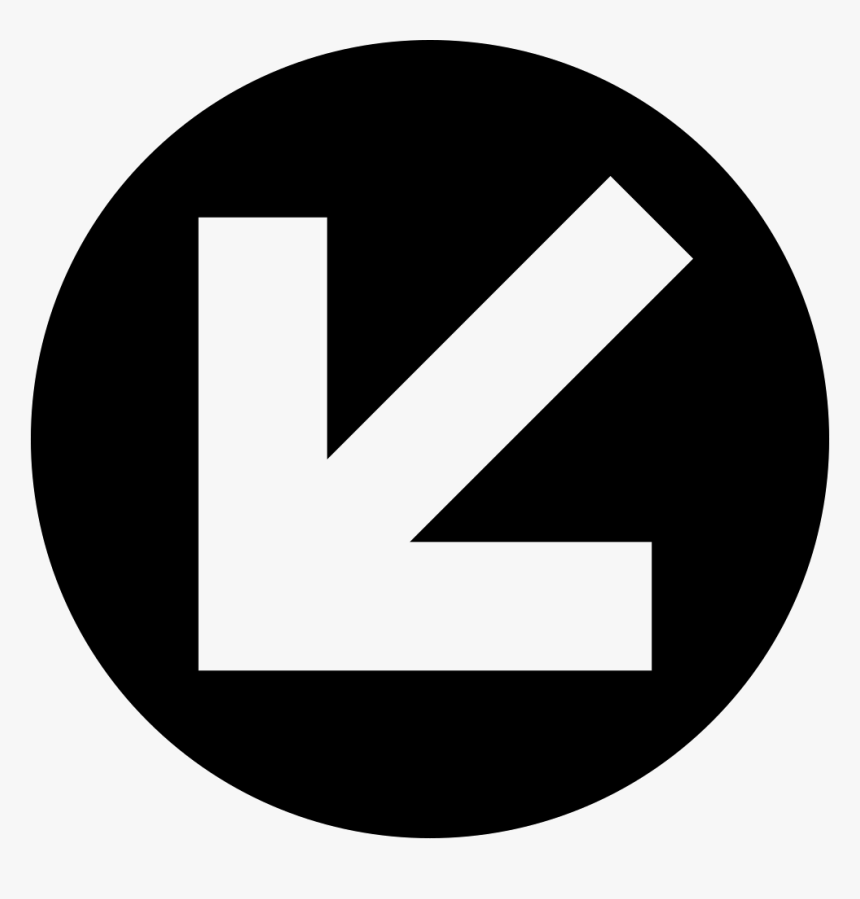 Down Left Arrow In Circular Button - White Arrow Left Pointing Left Circle, HD Png Download, Free Download