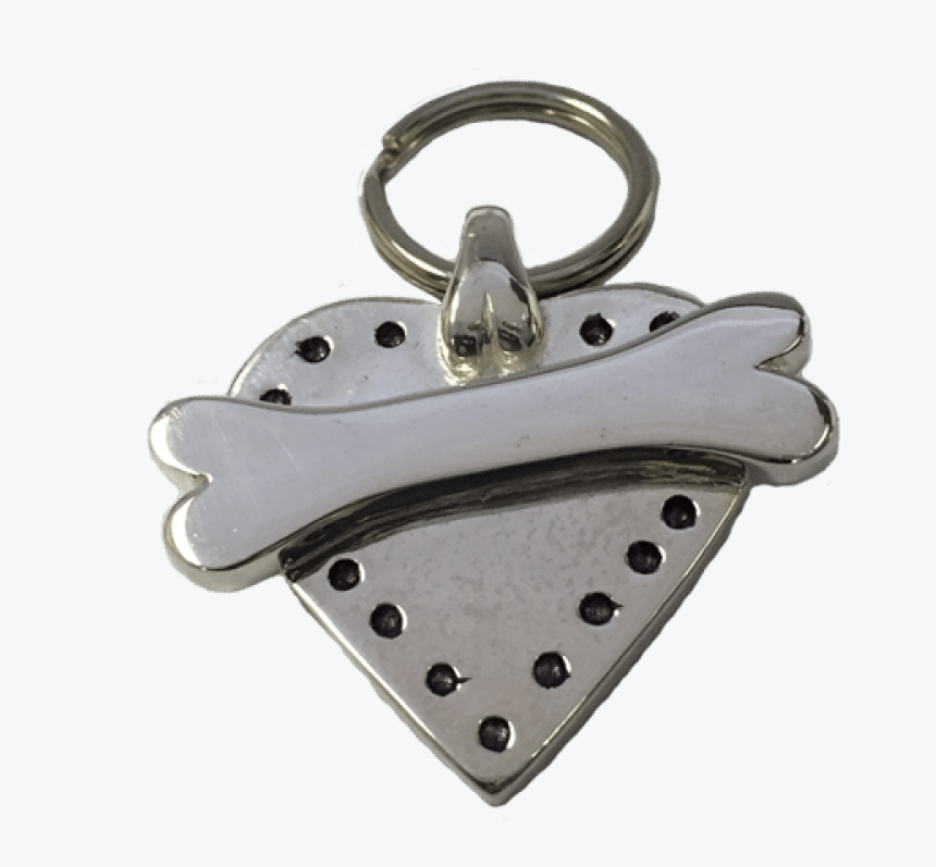 Medium Heart & Bone Tag Sterling Silver - Keychain, HD Png Download, Free Download