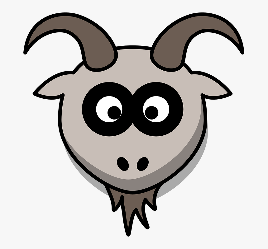 Goat, Head, Cartoon, Gray, Animal, Mountains - Cute Goat Head Clipart, HD Png Download, Free Download