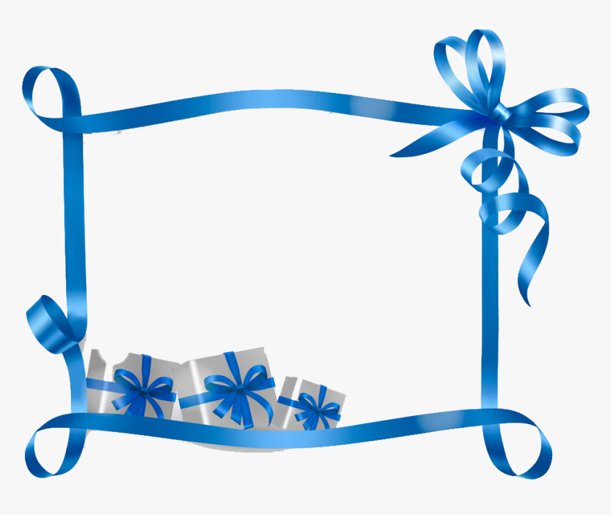 Clip Art Blue Ribbon Border - Christmas Gift Tag Template Clipart, HD Png Download, Free Download