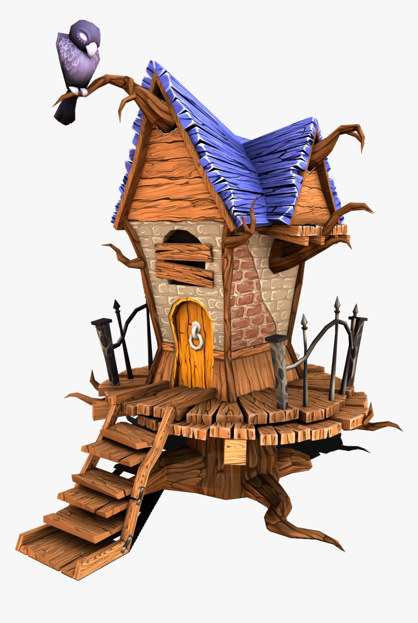 Stylized Creepy House - Low Poly 3d Models House, HD Png Download, Free Download