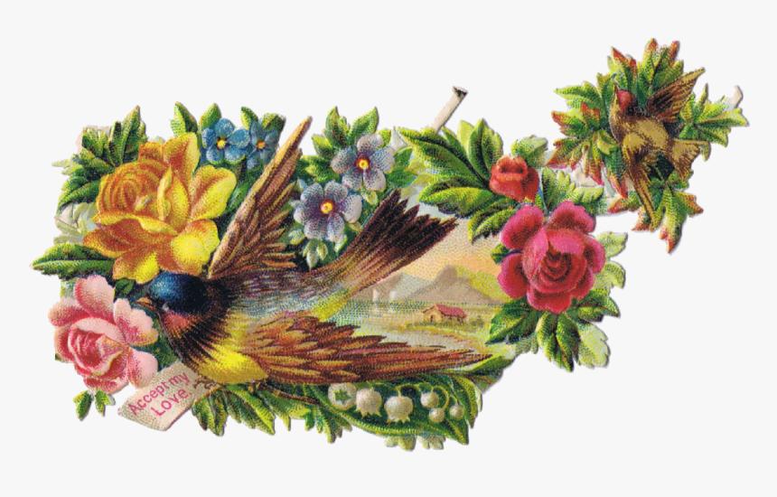 Vintage Bird Clipart - Vintage Flowers Transparent Background Birds, HD Png Download, Free Download