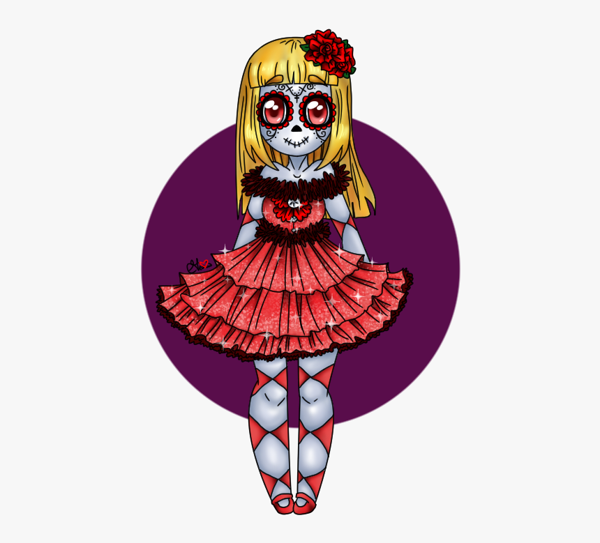 Halloween Sugar Skull Clipart Vector Transparent Download - Halloween Anime Day Of The Dead, HD Png Download, Free Download