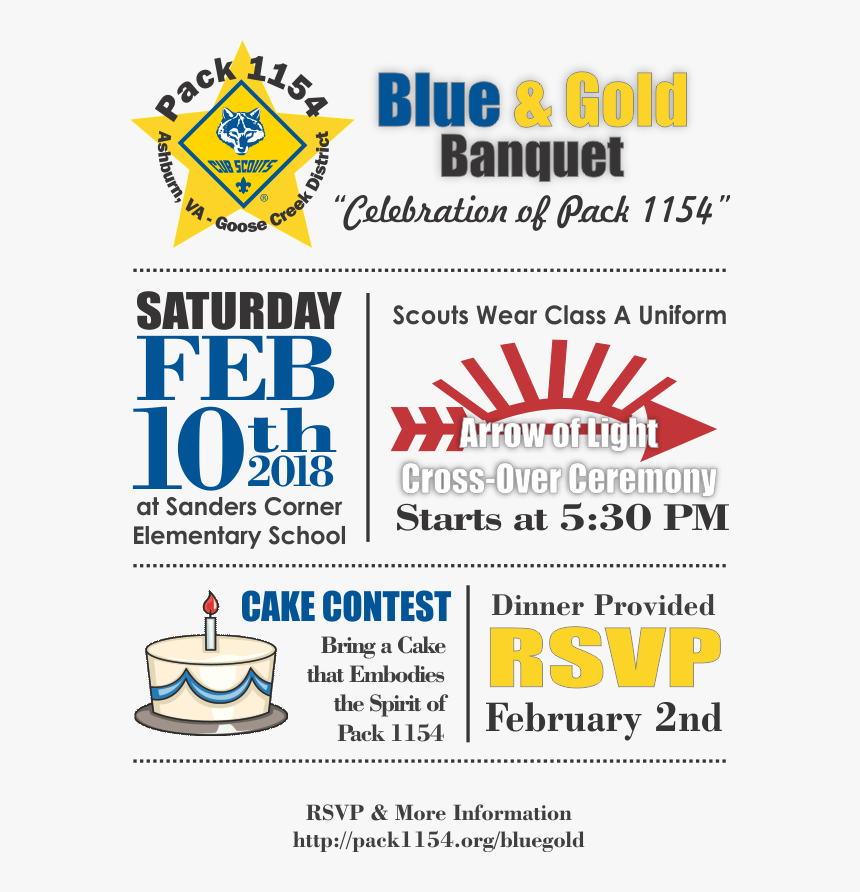 Blue And Gold Banquet Invite - Crossover Ceremony Invitation Arrow Of Light, HD Png Download, Free Download