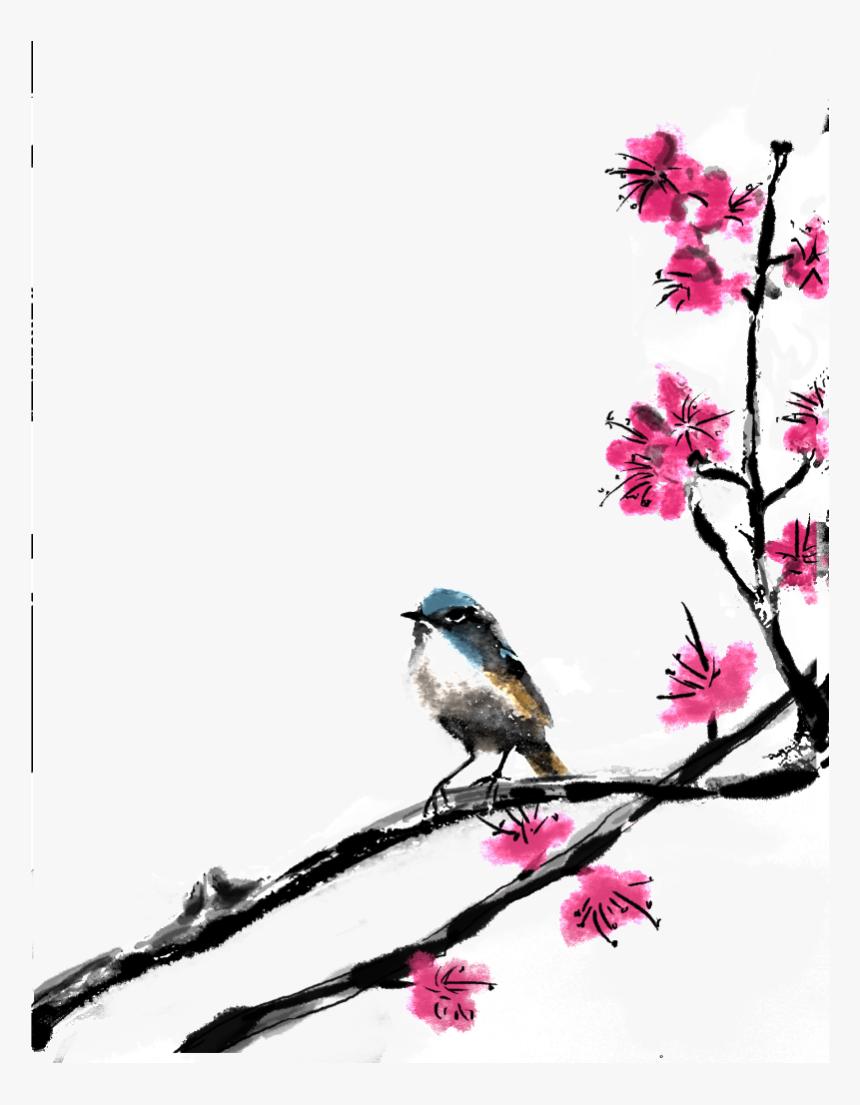 Hermosas Flores Y Aves, Png De Pintura - 古風 梅花 與 鳥, Transparent Png, Free Download