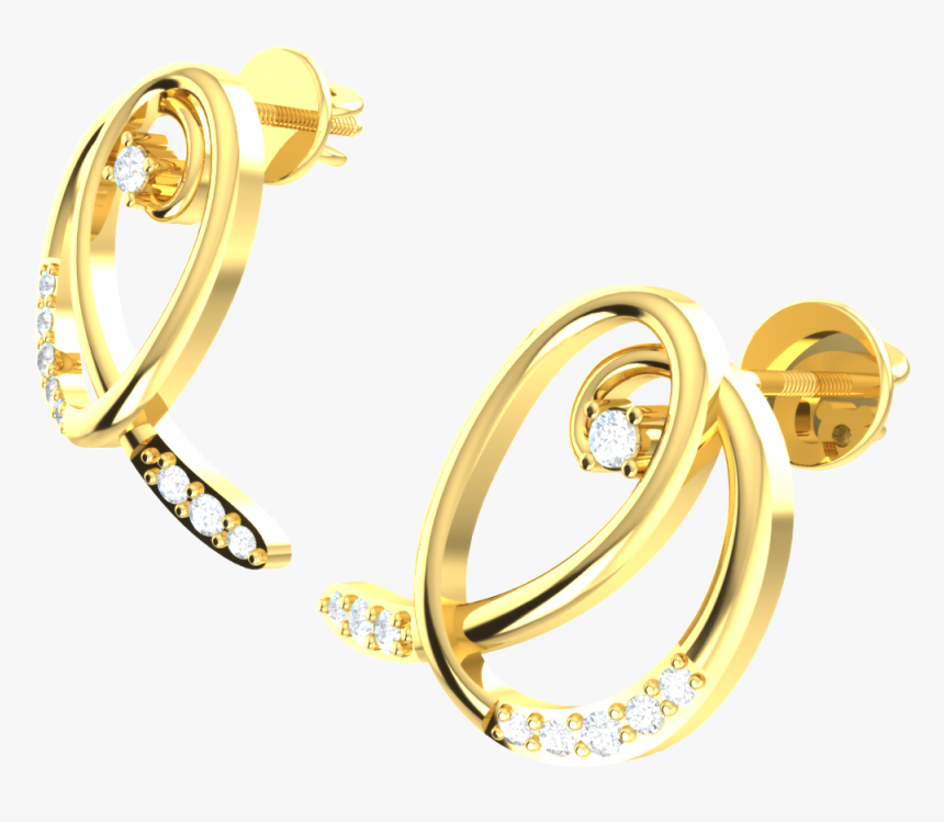 0 15ctw Round Cut Natural Diamond 18k Gold - Earrings, HD Png Download, Free Download