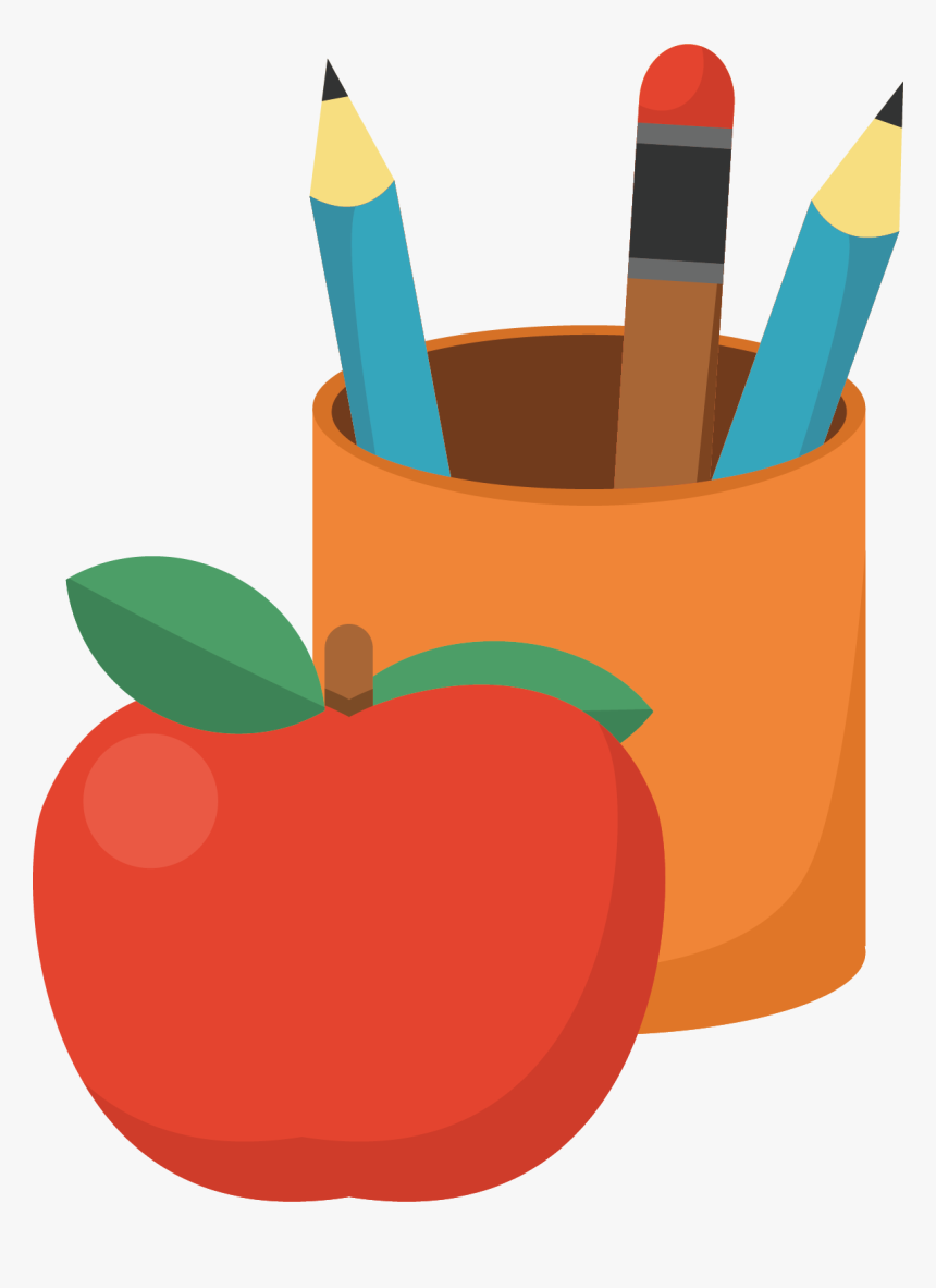Transparent Pencil Vector Png - Apple And Pencil Clipart, Png Download, Free Download