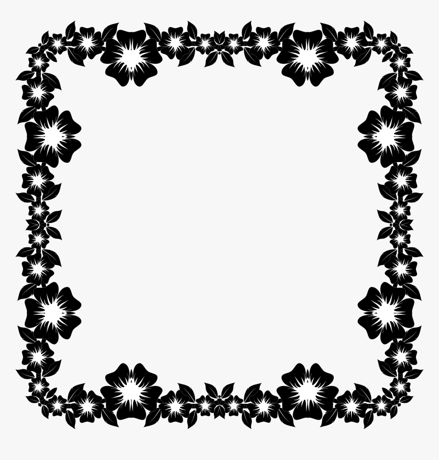 Clipart Flower Frame Extrapolated - Flower Frame Hd Black White, HD Png Download, Free Download