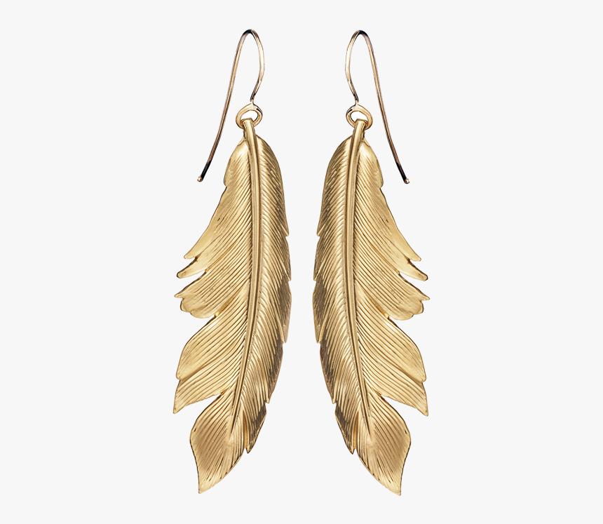 E Feather Earrings Big Y - Big Beige Feather Earrings, HD Png Download, Free Download