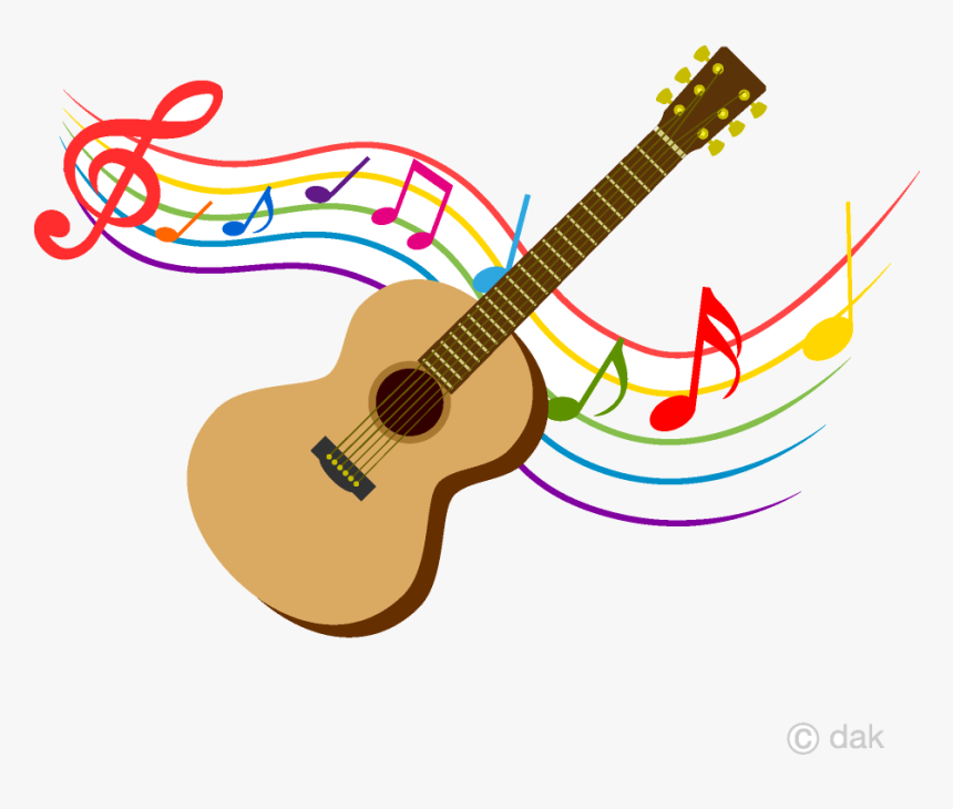 guitar and colorful note music clipart free picture - guitar with music  notes, hd png download - kindpng  kindpng
