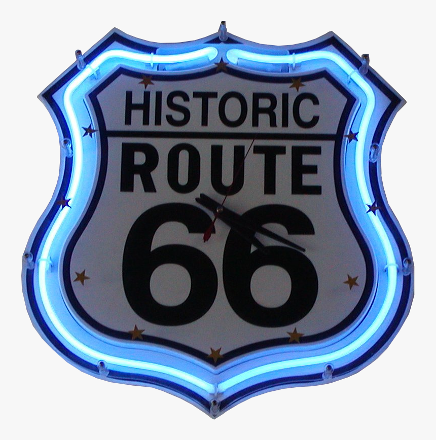 Transparent Route 66 Sign Png - Historic Route 66 Neon Clock, Png Download, Free Download