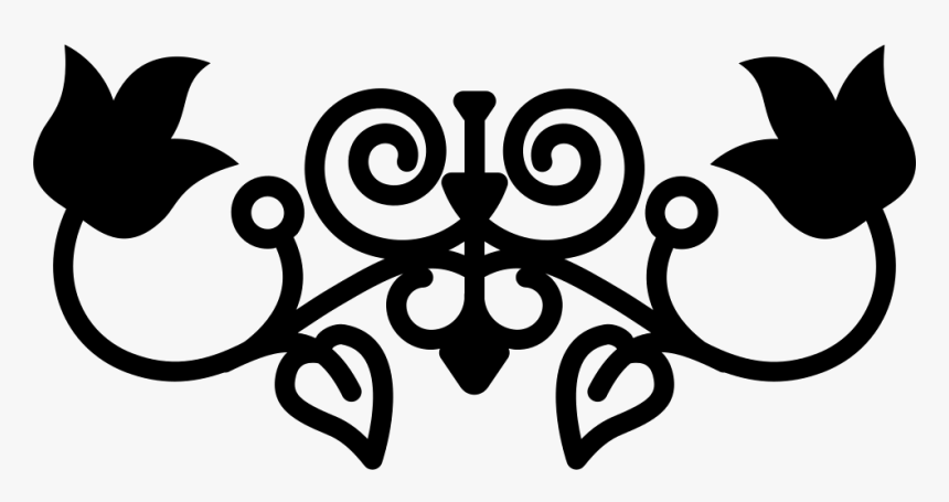 Floral Silhouette With Vines And Leaves Variant Design - Floral Line Icon, HD Png Download, Free Download
